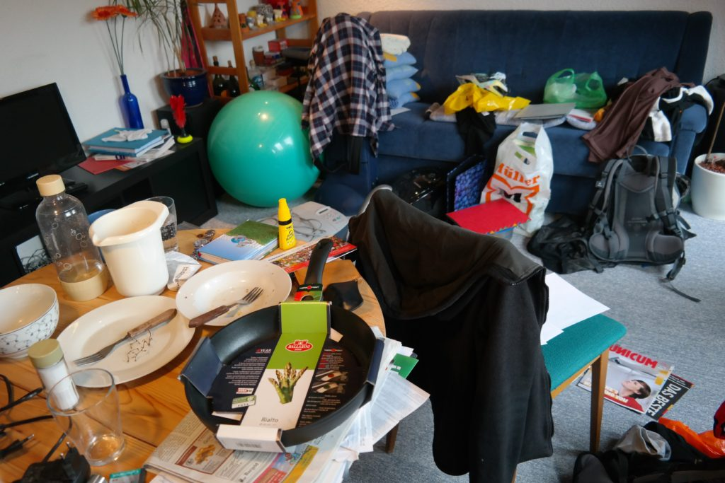 Messy cosplay room during Con Crunch.