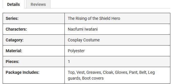 Costume Description (cosplay shopping)